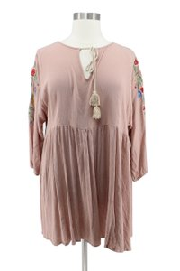 Boohoo short dress Tan Floral Embroidered Boho Baby Doll on Tradesy