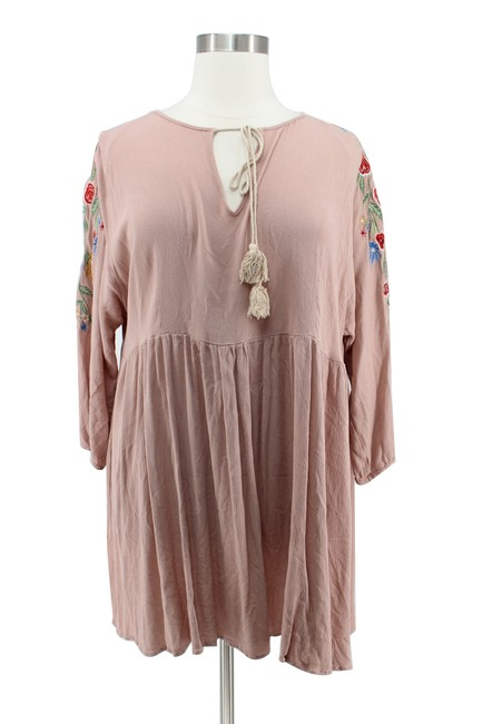 Preload https://img-static.tradesy.com/item/25341983/tan-floral-embroidered-long-sleeve-boho-baby-doll-short-casual-dress-size-20-plus-1x-0-0-650-650.jpg