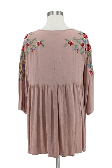 Boohoo short dress Tan Floral Embroidered Boho Baby Doll on Tradesy Image 3