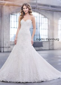 David Tutera for Mon Cheri White Unaltered Tulle and Hand-beaded Embroidered Lace Over Satin Style 215265 Katharine Formal Wedding Dress Size 8 (M)