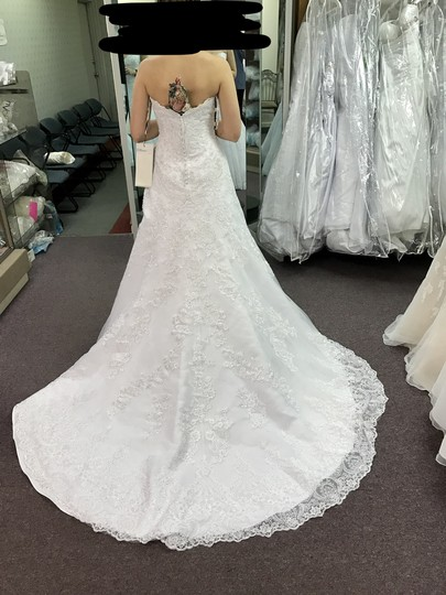 David Tutera for Mon Cheri White Unaltered Tulle and Hand-beaded Embroidered Lace Over Satin Style 215265 Katharine Formal Wedding Dress Size 8 (M) Image 3