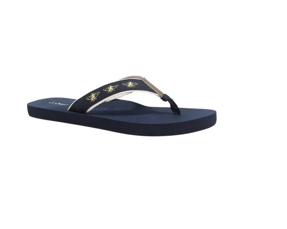 2a732c5b5f1c2 J.Crew Navy Yellow Embroidered Flip Flop Bee 7 Sandals Size US 8 ...
