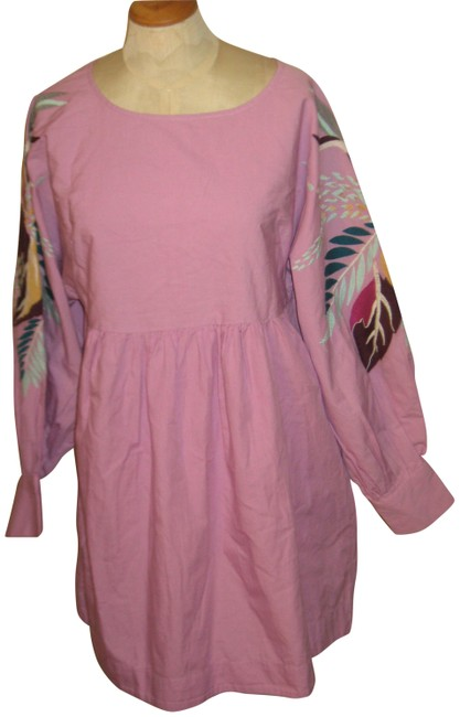 Item - Pink Multi Embire Waist Cotton Embroidered Sleeve Short Casual Dress Size 12 (L)