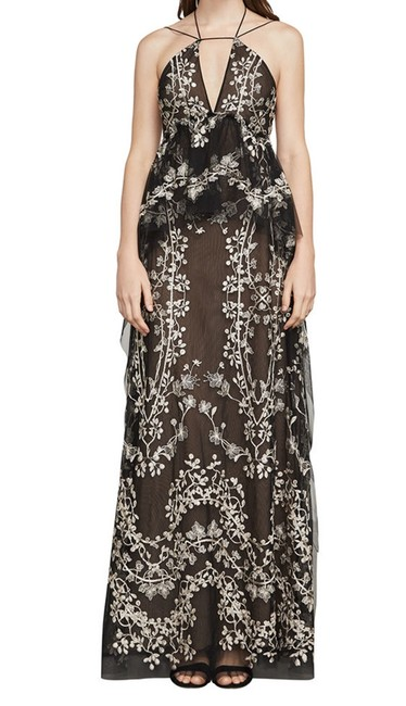 Item - Black Leto Embroidered Floral Halter Gown Long Night Out Dress Size 2 (XS)