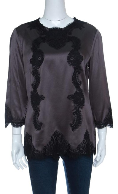 Preload https://img-static.tradesy.com/item/25342115/dolce-and-gabbana-grey-satin-scallop-lace-insert-long-sleeve-l-blouse-size-12-l-0-1-650-650.jpg