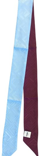Fendi New authentic Fendi skinny neck tie scarf blue burgundy silk 100% Image 0