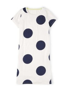 Boden short dress Cream Navy T-shirt Jersey Knit Polka Dot on Tradesy