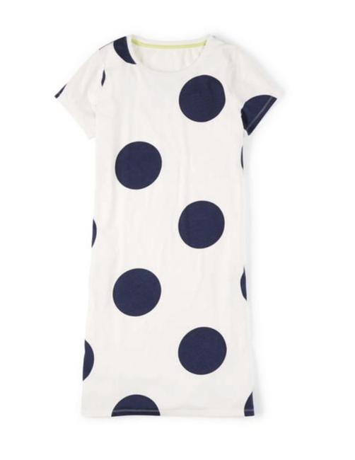 Item - Cream Navy Jersey White Polka Dot Knit T-shirt Short Casual Dress Size 8 (M)