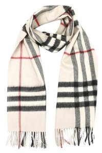 Burberry White Ivory Stone Classic Check Cashmere Scarf