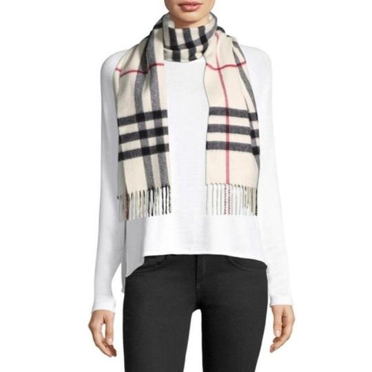 Burberry White Ivory Stone Classic Check Cashmere Scarf Image 1