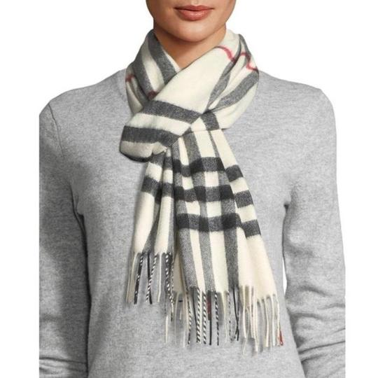 Burberry White Ivory Stone Classic Check Cashmere Scarf Image 2