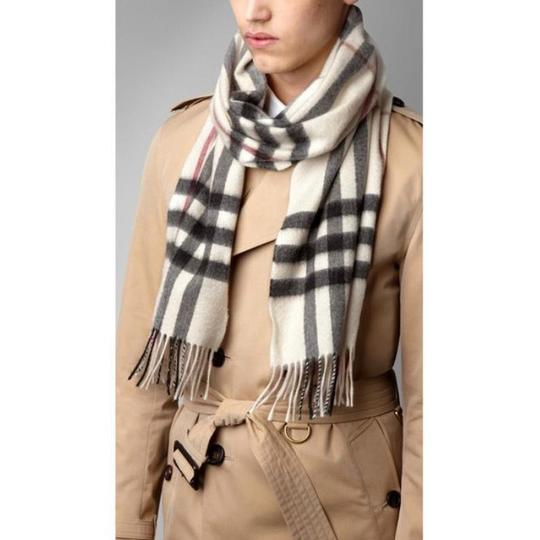 Burberry White Ivory Stone Classic Check Cashmere Scarf Image 3