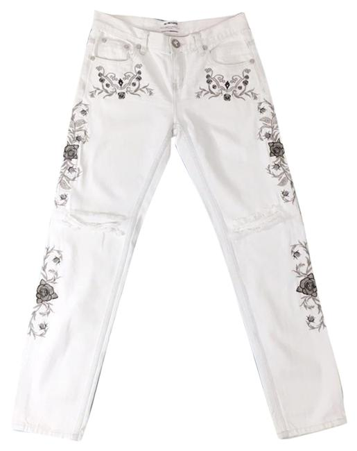 Item - White Light Wash Lola Floral Embroidered Awesome Baggies Boyfriend Cut Jeans Size 25 (2, XS)