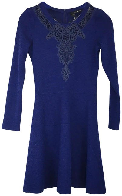 Preload https://img-static.tradesy.com/item/25342403/the-kooples-royal-blue-stretch-knit-lace-inset-short-casual-dress-size-6-s-0-1-650-650.jpg