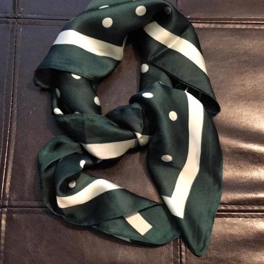 Other Ladies Small Silk Army Green Polka Dots Neck Scarf Image 1