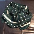 Other Ladies Small Silk Army Green Polka Dots Neck Scarf Image 2