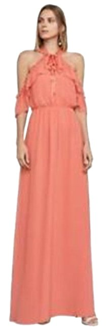 Item - Spiced Coral Tracie Cold Shoulder Halter Long Cocktail Dress Size 00 (XXS)