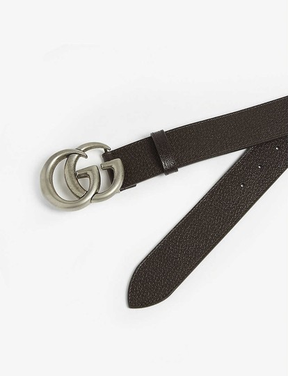 Gucci size 32 GG logo leather and suede belt 4 cm wide Image 1