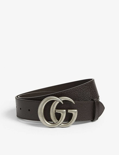 Gucci size 32 GG logo leather and suede belt 4 cm wide Image 2