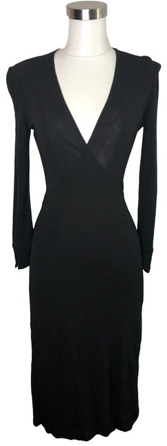 Item - Black XS N99 Designer Wrap Stain Mid-length Formal Dress Size 2 (XS)