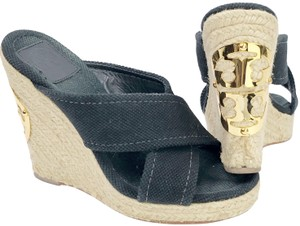 Tory Burch Open Toe Strappy Signature Logo Gold Black Wedges