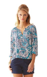 Lilly Pulitzer Top White Blue