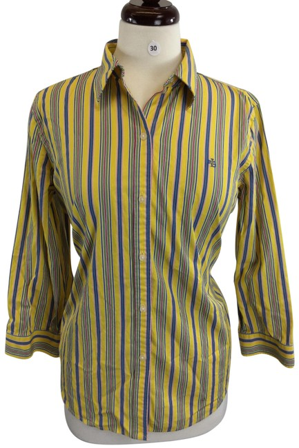 Item - Blue Yellow Button-down Top Size 14 (L)