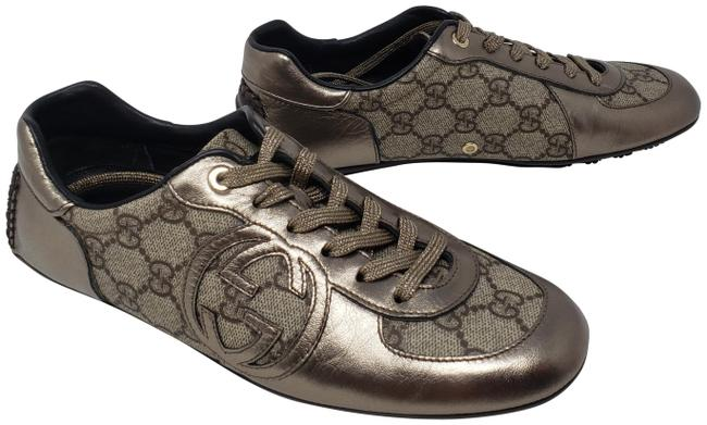 Item - Silver Metallic Coated Canvas Leather Gg Web Low-top Sneakers Size EU 36.5 (Approx. US 6.5) Wide (C, D)