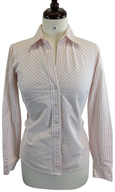 Item - Pink White Button-down Top Size 8 (M)