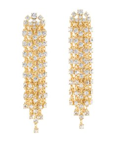 Oscar de la Renta Crystal Cascade Waterfall Clip-On Earrings