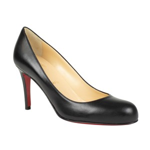 Christian Louboutin Leather Shiny 85 Mm Round Toe Black Pumps