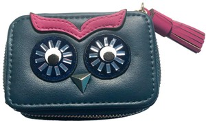 Neiman Marcus Owl Face Small Leather Pill Zipper Case NWT