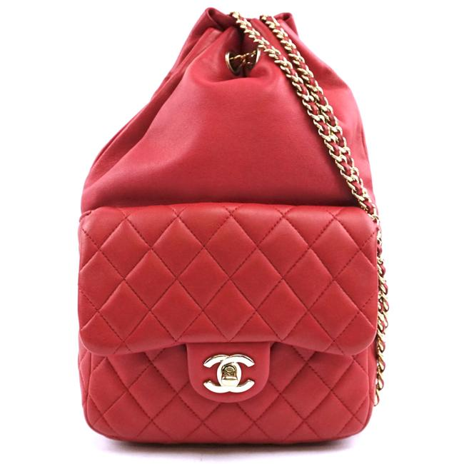 Item - #29471 Rare Cc Seoul Quilted Red Pink-ish and Gold Hardware Lambskin Leather Backpack