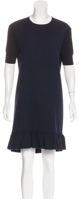 Item - Black and Blue Wool Short Casual Dress Size 4 (S)