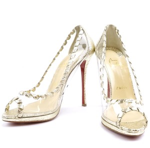 Christian Louboutin Leather Gold Clear Pumps