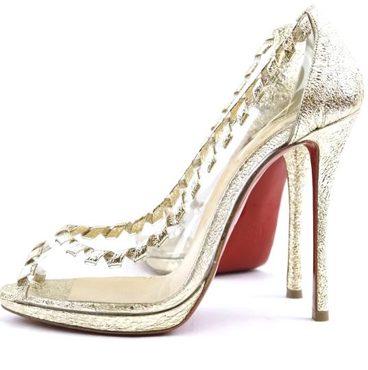 Christian Louboutin Leather Gold Clear Pumps Image 3