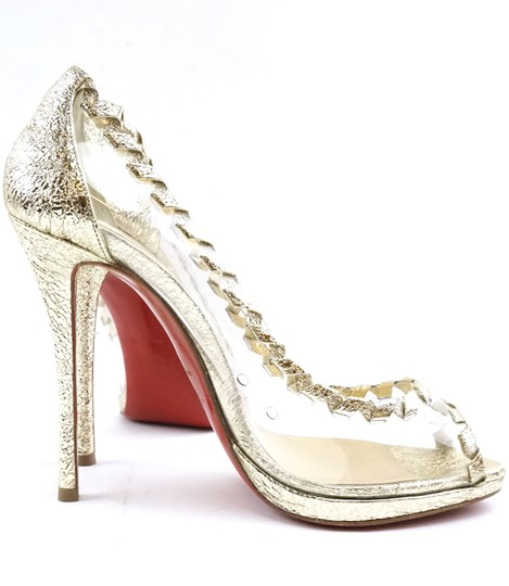 Christian Louboutin Leather Gold Clear Pumps Image 4