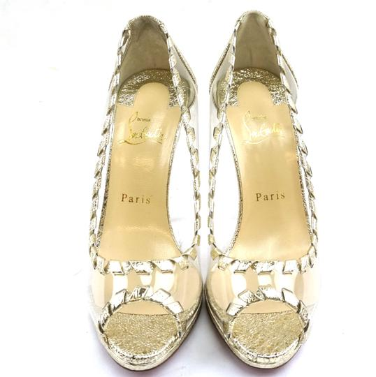 Christian Louboutin Leather Gold Clear Pumps Image 5