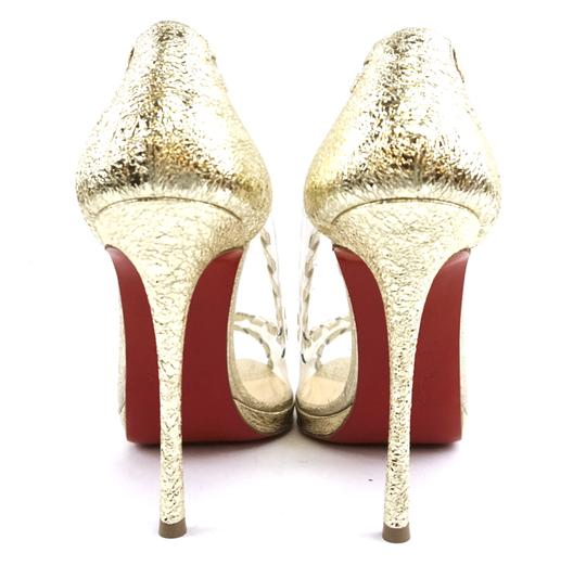 Christian Louboutin Leather Gold Clear Pumps Image 7
