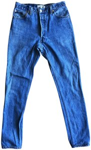 RE/DONE Cotton High Rise Vintage Straight Leg Jeans-Medium Wash