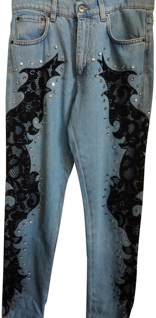 Item - Blue Black Metallic Medium Wash Eusz 38 Couture Embroidered Embellished Straight Leg Jeans Size 32 (8, M)