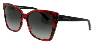 DSquared DQ0098-69B-59 Butterfly Women's Red Frame Grey Lens Genuine Sunglasses