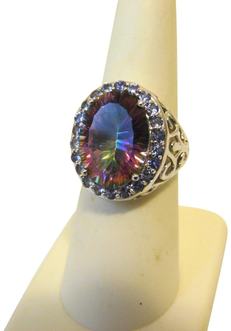 Item - Sterling Silver 8.70ctw Rainbow Quartz and Tanzanite 7 Ring