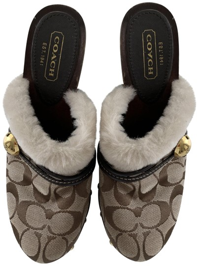 Coach Ivanka Signature Mules Clogs Monogram Brown Black Mules Image 0