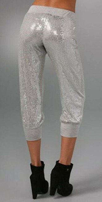 Haute Hippie Sequin Cropped Sweats Joggers Relaxed Pants Silver Image 1