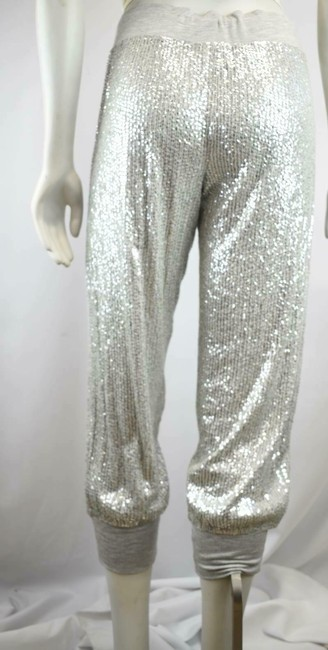 Haute Hippie Sequin Cropped Sweats Joggers Relaxed Pants Silver Image 2