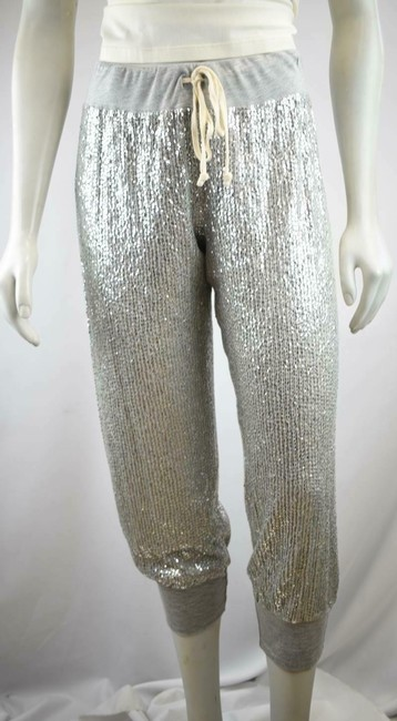 Haute Hippie Sequin Cropped Sweats Joggers Relaxed Pants Silver Image 3