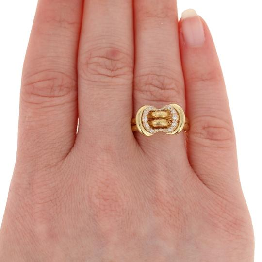 Other Single Cut Diamond-Accented Ring - 18k Yellow Gold Textured E3313 Image 2