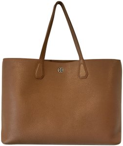 Tory Burch Work Leather Pebbled Leather Leather Tote in Umber Tan Brown and Metallic Gold