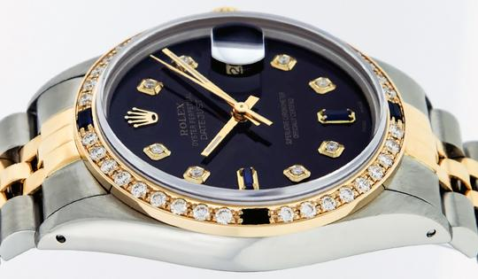 Rolex Mens Datejust Ss/Yellow Gold with Black Diamond Dial Watch Image 7